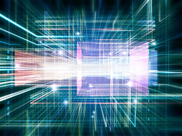 光線群によるスピード感あふれる異空間のイラスト素材 [FYI01417585]