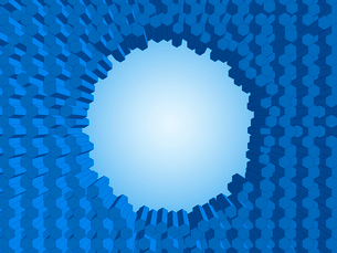 突起する蜂の巣状の壁に出来た丸い穴のイラスト素材 [FYI01417601]