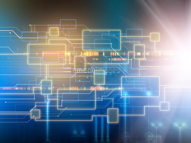 リンクし合う回路図と光芒のイラスト素材 [FYI01417638]