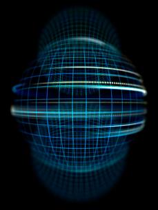 黒背景の格子線球体オブジェクトと光の旋回のイラスト素材 [FYI01417703]
