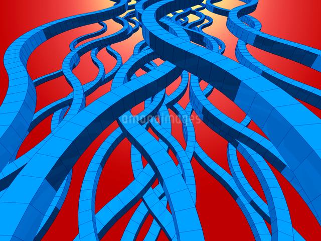 蛇行する複数の青いブロックの帯のイラスト素材 [FYI01417910]