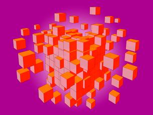 紺色のブロックがランダムに分裂のイラスト素材 [FYI01418248]