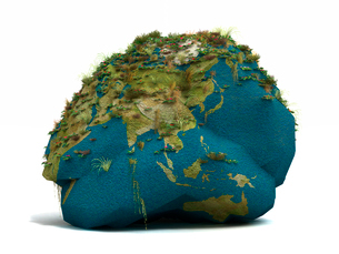 草をが生える岩を模した地球儀のイラスト素材 [FYI01418281]