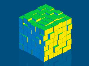 ブロックが集まった立方体のイラスト素材 [FYI01418351]