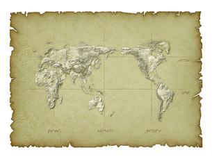 日本列島中心世界地図古地図イメージのイラスト素材 [FYI01418884]