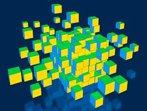 赤いブロックがランダムに分裂のイラスト素材 [FYI01418958]