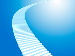 上方を目指す白い階段のイラスト素材 [FYI01419076]