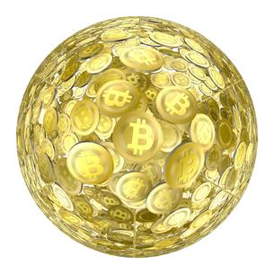 白背景の球状を成すビットコインのイラスト素材 [FYI01419130]