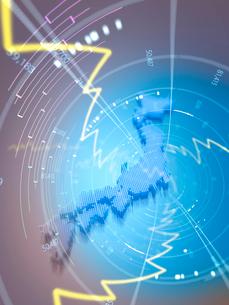 日本地図と放射状の折れ線グラフのイラスト素材 [FYI01419376]