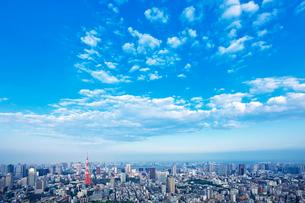 東京タワーと街並みと青空の写真素材 [FYI01419971]