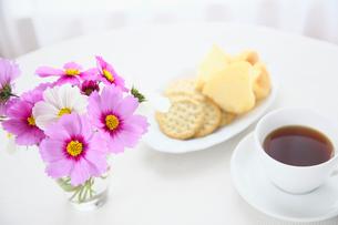 テーブルの上のコスモスとコーヒーとクッキーの写真素材 [FYI01420486]