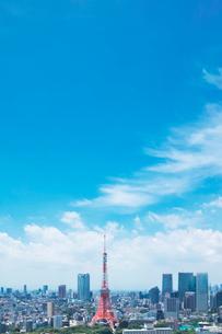 東京タワーと都内の街並の写真素材 [FYI01420681]