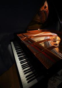 グランドピアノと光る弦部分の写真素材 [FYI01422681]