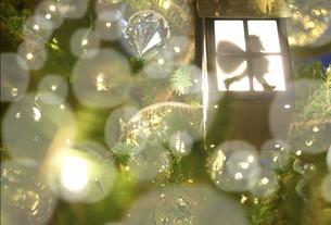 イルミネーションが光り輝くクリスマスとサンタクロースの写真素材 [FYI01422948]