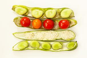 そら豆のさやに収まったそら豆とミニトマトと米の写真素材 [FYI01422954]