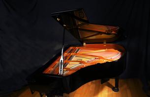 グランドピアノと光る弦部分の写真素材 [FYI01424217]