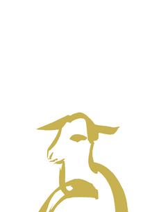無地下側淡い金色羊のイラスト素材 [FYI01424292]