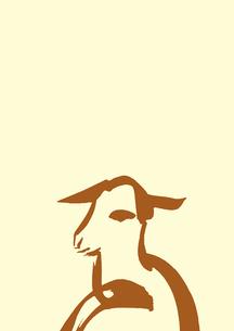 淡い黄色地下側茶色羊のイラスト素材 [FYI01424330]