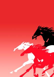 走り出す赤と白と黒い馬のイラスト素材 [FYI01424614]