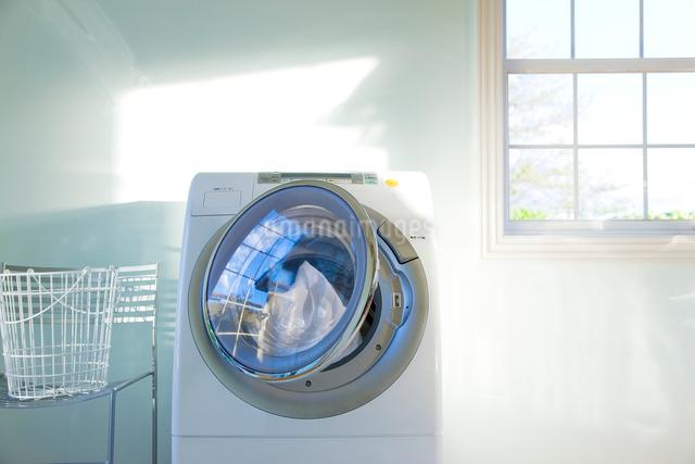 洗濯カゴとドラム式電気洗濯乾燥機と日差しの写真素材 [FYI01425991]