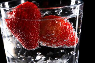 炭酸水とイチゴの写真素材 [FYI01427232]