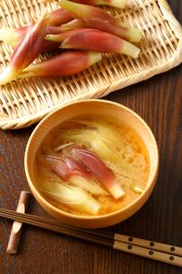 みょうがの味噌汁・味噌汁の写真素材 [FYI01427319]