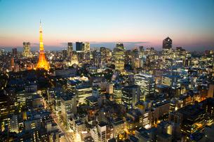 都心の夜景(世界貿易センタービルより西を見る)の写真素材 [FYI01427477]