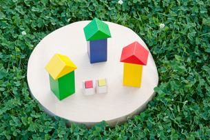 クローバーと積み木の家の写真素材 [FYI01428174]