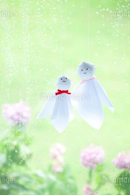 雨の日のてるてる坊主の母子 アジサイの花の写真素材 [FYI01428287]