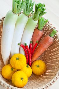 カゴの中の野菜の写真素材 [FYI01428291]