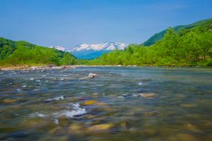 新緑の寒河江川と出羽三山の写真素材 [FYI01428816]