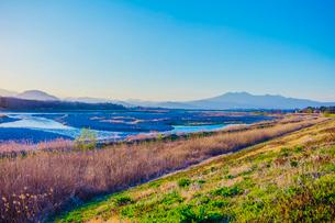 夕暮れの鬼怒川の蛇行の写真素材 [FYI01429320]
