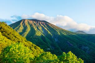 朝日に映える新緑の男体山の写真素材 [FYI01429349]