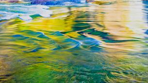紅葉に映える片品川の流れの写真素材 [FYI01429968]