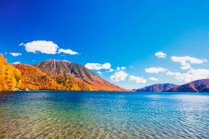 紅葉する中禅寺湖の千手ヶ浜と男体山の写真素材 [FYI01430549]