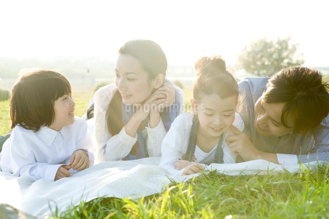 野原に寝転ぶ親子4人の写真素材 [FYI01432132]