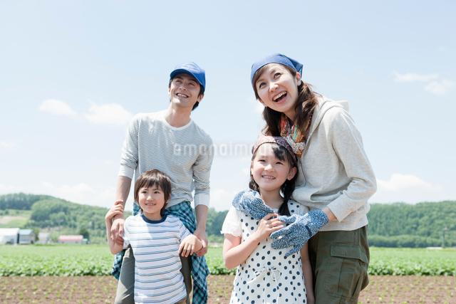 畑で寄り添う家族の写真素材 [FYI01432540]
