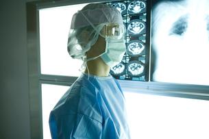 レントゲンを見る女外科医の写真素材 [FYI01433626]