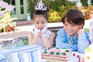 ケーキを見つめる男の子と女の子の写真素材 [FYI01434078]