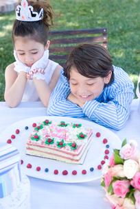 ケーキを見つめる男の子と女の子の写真素材 [FYI01434184]