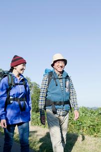 ハイキングを楽しむシニアカップルの写真素材 [FYI01435834]