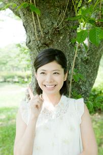 木陰に立つ女性の写真素材 [FYI01436144]
