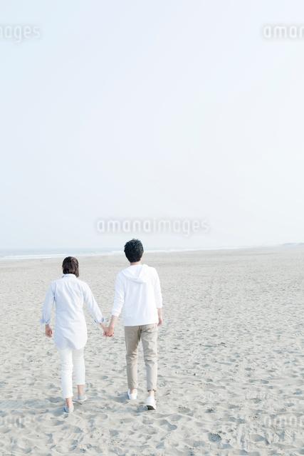 手をつないで歩く海辺のカップルの後ろ姿の写真素材 [FYI01436680]