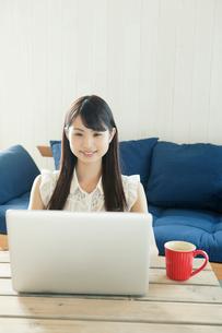 パソコンを操作する若い女性の写真素材 [FYI01436818]