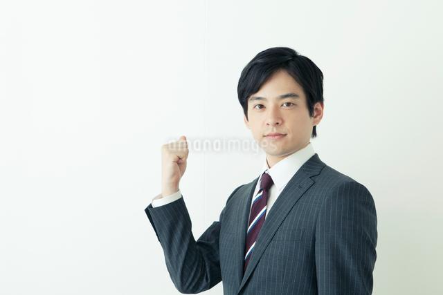 ガッツポーズをするスーツ姿の20代の日本人男性の写真素材 [FYI01437095]