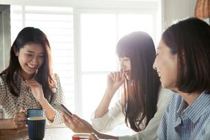 スマホを使う20代女性3人の写真素材 [FYI01437552]