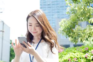 スマホを使う20代女性ビジネスイメージの写真素材 [FYI01438002]