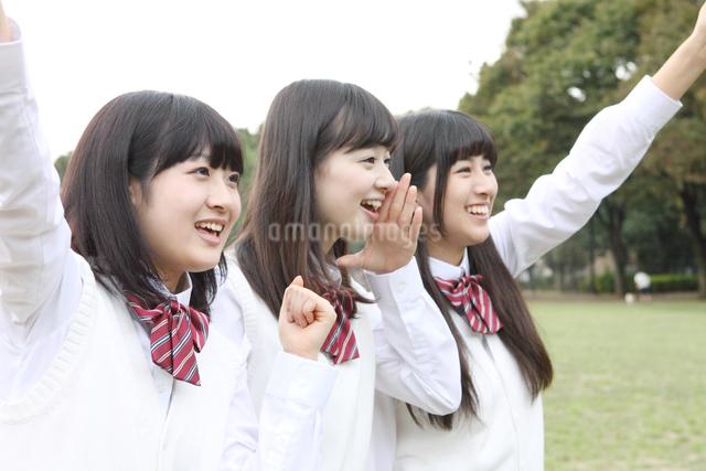 斜め向き応援する女子高校生3人の写真素材 [FYI01439139]