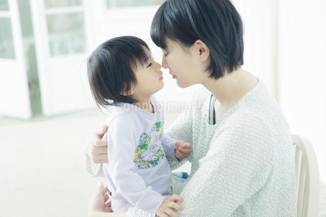 鼻をくっつけ合う親子の写真素材 [FYI01439308]
