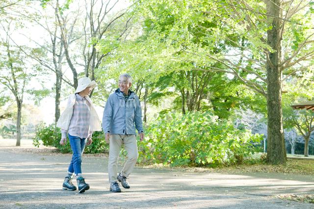 公園を散歩するシニアカップルの写真素材 [FYI01440009]